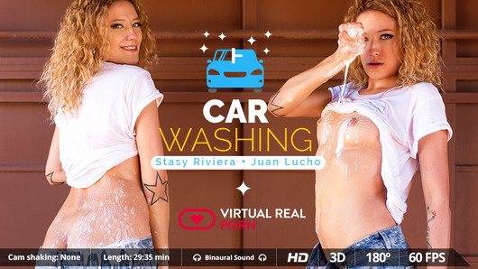 Washing the car was never so exciting. And the only reason is hot blonde babe Stasy Riviera. So, yeah, your car is clean enough! She better come in and work on something different than polishing. Here's your chance, fuck her, let her suck it dry, her boobs bouncing few centimeters away from your face and her moaning with pleasure as never before. It's not that bad if you car is a bit dusty, as long as you can drop your hot load on her perfect boobs!