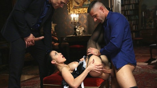 We have rules in this house! After her daily inspection, Blue Angel decides to give a lesson to young maid Nicole Love. Blowjobs, anal, DP's, the young Hungarian girl must obey! Nicole just loves sex! (Video duration: 26 minutes)