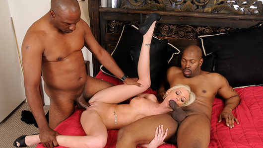 Nasty blonde chick Kaylee Hilton sucks two big black cocks and gets double penetrated till she get drenched in cum! (Video duration: 20 minutes)