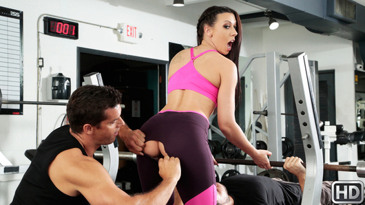 Rachel Starr goes to the gym with her whimpy boyfriend because she wants him to work out his muscles and get ripped, since she's tired of him being unable to fuck her properly. Rachel is disappointed at how weak her boyfriend is and she wants a man with muscles to be able to give her the hard cock she desires. When Ms. Starr notices a muscular man, Ramon, checking her out while she's exercising, Rachel decides to have some fun behind her pathetic boyfriend's back! Ramon fondles Rachel's perfect tits while she's lifting weights, but when her boyfriend is about to find out, Ramon backs off. Rachel's boyfriend wants her to spot him while he bench presses, so Ramon decides this is the best time to dive into Rachel's amazing ass and pussy while her oblivious boyfriend is struggling to work out. Will horny Rachel let it slip that Ramon's dick is deep inside her pussy, or will this sexy slut be able to hold her moan while getting drilled from behind?