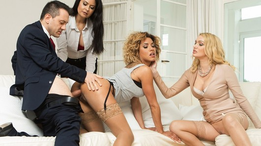 Amber Jayne in His wife offers him 2 slutty girls