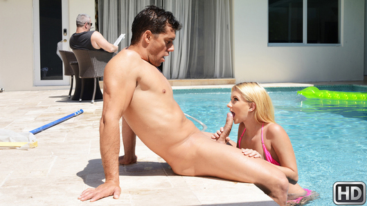 Riley Star is extremely horny, only she's grounded for flunking out of college. Riley lounges around the pool wearing nothing but a skimpy bikini that shows off her extremely sexy slender body! Unable to leave her house, she decides to seduce the pool boy, Ramon, for the cock she's been craving since leaving college! But Ms. Star's father keeps a close eye on her and the pool boy to make sure nothing happens, so these two have to sneak behind his back! Riley teases Ramon with her perky tits and slutty behavior as she asks him to rub oil all over her tight body! With a dripping wet pussy, she can't wait to suck and fuck his big dick, but can this slutty college dropout keep herself from moaning too loud, or will her nosy father catch her in the act of fucking around poolside?
