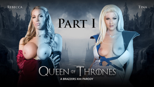 Queen Of Thrones - Part 1 - A XXX Parody, starring Rebecca More and Tina Kay. John Doe finds himself surrounded by dead walkers, leaving him no choice but to fight. To save the North, he risks it all, in attempt to align himself with the cruel Queen Sexei Bannister. Meanwhile, Jeromay and Sexei are less than impressed with a local theatre troupe performing in the kingdom. However, Jeromay does see potential in actress portraying Daniellys. He's eager to demonstrate after the show the reason he's earned the title Pussyslayer, as he brings a guest into the royal chambers for a fuckfest that's sure to put a smile on Queen's face.