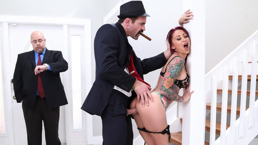 Monique Alexander's fumbling mobster husband hasn't been holding up his end of the family business. She's getting ready for a night out when she hears an angry Don Charles enter the house. A little turned-on by his power despite the circumstances, the horny wife begs the Don not to whack her husband, offering up a good whacking of her ass instead.