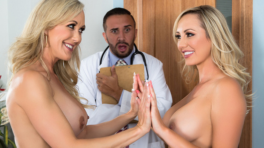 After a mind-blowing sex session with Brett Rossi, Dr. Lee has begun to suspect she's truly the second cumming of Brandi Love. There's only one way to find out, call up Ms. Love herself for her professional pornstar opinion. Brett's been scheming to bang the beautiful Brandi all along, and together the two show off their best sucking and fucking for the good doctor.