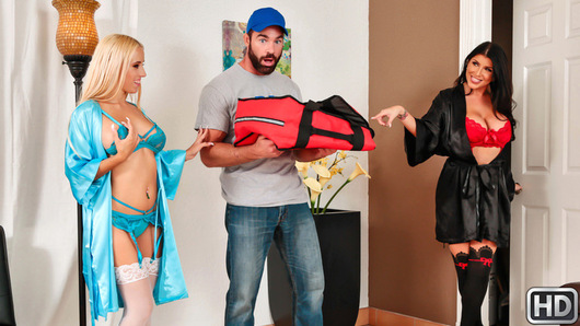 Romi Rain and Aspen Romanoff are two lonely, horny sluts who aren't just hungry, they're cock-hungry! Romi and Aspen call up their local delivery boy, Charles Dera, who comes by with a hot slice for each of them. The girls try to seduce Charles with their sexy lingerie and massive tits rather than give him a big tip, because they want to be the ones getting it for a change! Aspen and Romi have their way with Charles, proving that this pizza guy goes the extra mile to satisfy his customers, especially horny sluts like these! Hot and spicy dick sausage, cumming up! The girls lick each other and fuck and suck Charles, then he finishes off this threesome by giving these ladies his special sauce. Who doesn't love pizza?