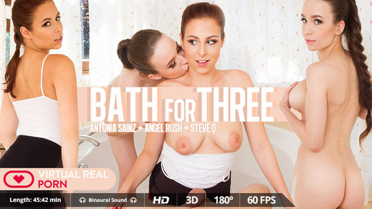 It all begins as an innocent bath at home but quickly turns into an amazing Virtual Reality hot threesome with Russian beauty Angel Rush and Czech Antonia Sainz. You are in the bathroom with your girlfriend getting too hot till you fuck, nothing new under the sun, right? Well, thing is, when Angel takes a break to go for something to drink to the kitchen and the cleaner comes into the bathroom... and you fuck her! Truth is you are not getting Best Boyfriend Of The Year award, but who needs it when your girlfriend catches you and joins the party? Being a bit naughty has definitely been worth it and now you are with two hot stunning girls at the same time!