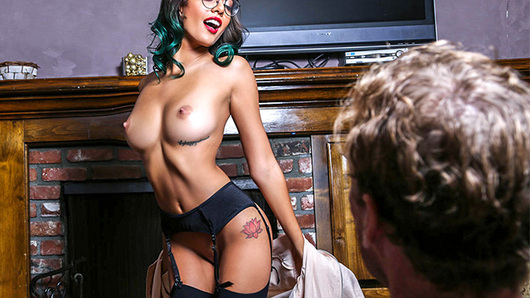 Janice Griffith accidentally locked herself out of her own house. She broke her key in the lock. So she had to call a locksmith to fix her problem. He arrived and in no time unlocked her door. She was so appreciative that she offered him to come in. Inside, she proceeded to do a quick strip tease for him before shoving his cock in her mouth. From there, he slammed her pussy all over her house, fucking her from the kitchen to the living room and in several different positions. Finally, he blew a huge load right in her mouth.