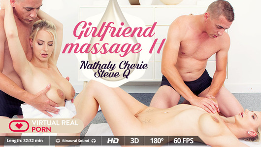 We are always up for a Girlfriend Experience in VR. Even more when your girlfriend is busty pornstar Nathaly Cherie, a stunning hot blonde with huge boobs who is ready not only to give you a romantic massage in the tub, but she'll also beg you to soak her in oil and fuck her as if there were no tomorrow. We know that affection and romanticism are good for a while, but when you have those great boobs between your hands and a massive erection between your legs, there's no possible stop. All that matters now is cumming on her.