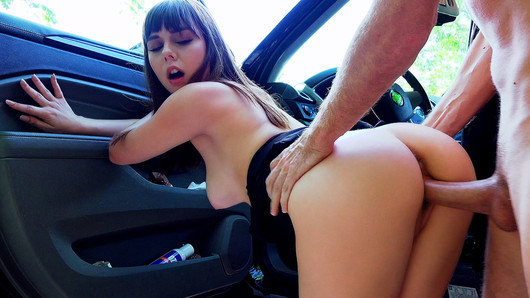 Shae Celestine doesn't mind fucking a married man, but that doesn't mean that she wants to get caught by his wife! Lucky for her, a horny man with a camera was around to trade her a blowjob and a roadside fuck for a lift home!