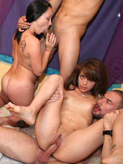 Indigo Augustine sharing cocks with Cyrus Blow and Christina Lina