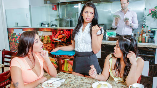 Gina Valentina, Horny American hotties Karlee Grey and Cindy Starfall seduce and start giving head to a restaurant owner. Soon enough, his employee, Gina Valentina, joins them into a wild group sex session. After they swap his cum, Alex Legend gets blackmailed into paying them loads of cash from the register. (Video duration: 41 minutes)