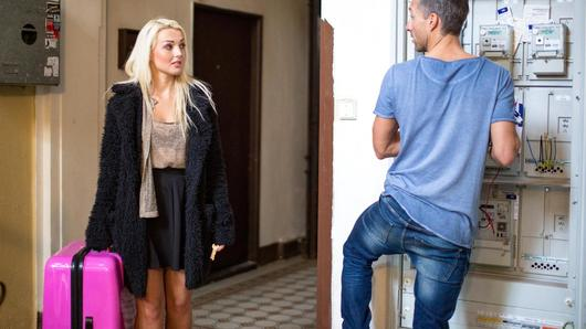 Lovely Czech beauty Lovita Fate seduces local handyman Lutro. The naughty foreign chick starts sucking his rock-hard cock on the block hallway, then gets pussy banged deep on a couch. Finally, cute blondie Lovita gets pussy covered with cum. (Video duration: 32 minutes)