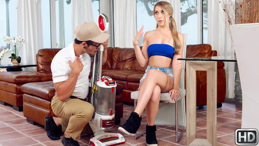 Vacuum salesman Bambino finally caught break, blonde slut Kimber Lee wants a stiff, sturdy machine to keep her serviced. While Bambino is giving his sales spiel, Kimber pulls up her tiny denim skirt, moves aside her pink lace panties, and teases him by touching herself. Next she tugs down her tube top so Bambino can tweak her teen titties while fingering her pussy. Then Kimber shows Bambino she sucks better than any vacuum cleaner by taking him in her mouth and wrapping her lips around his cock for a sloppy blowjob. Kimber looks so cute with her pigtails dangling during doggystyle as Bambino spanks her ass and her teenage moans fill the room. Bambino licks her pussy between filling it up with his hard cock, and after, he shoots his cum load everywhere, leaving her with jizz in her pigtails and all over her face and tongue. It will take much more than a vacuum to get Kimber cleaned up... luckily nobody is around to see the messy facial...