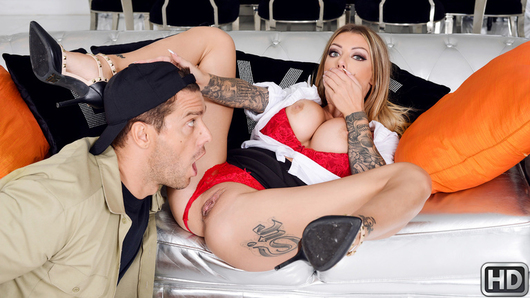 Karma Rx is busy working from home when she is interrupted by a knock at her front door. It's Ramon Nomar, the car repairman, who is there to deliver some personal belongings that were left in her husband's car at his shop. Among them, Karma finds a pair of red panties that don't belong to her. She immediately asks her husband for an explanation, but he denies having an affair. Then, he pretends the panties were a present for Karma! She obviously knows he's lying through his teeth, so the hot, scorned wife gets ready to serve him a good dose of bad Karma in the form of a revenge fuck with Ramon! First, she seduces the car repairman by sneakily sucking his big cock in the living room while her husband is busy in the other room! They almost get caught, but it takes more to stop a horny Karma! She titty-fucks Ramon and gets her dripping wet pussy licked and fucked. Of course, her moans eventually alert her husband, but it turns out Karma is as good of a liar as he is!