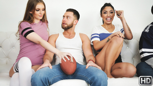 It's the day of the big football game, but when foxy Vanessa Sky and ferocious Maya Kendrick go head-to-head to get a man like Seth Gamble, the real action takes place at home and all bets are off. Slutty Maya senses Vanessa has the edge, so she runs an interception and seduces Seth away from the television up to her bedroom, where she shows him how she huts the ball... and touches down on a dick in doggystyle! But when Vanessa spots an illegal formation, she runs a blitz, tackles her man and takes possession of his prick, making an offensive push for the red zone. Maya gives Vanessa a penalty for offside fucking, and then these two really go at it, fighting tooth and nail to get Seth to climax as he stacks the girls into a pile-on and fucks both their dripping hot pussies. It's a win-win scenario when Maya and Vanessa share a sticky hot facial. Touchdown!