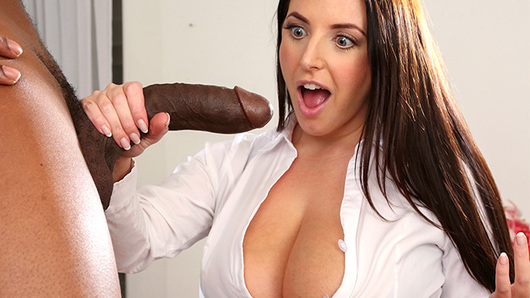 Angela White decides to look at the new bangbros update at work and gets spied on by her coworker. She confronts the guy and his reply was that he saw what she was seeing and that he has a big black cock. She's upset but wants to see if he's really big or not so she makes a deal with him. She's shocked once she pulled his dick out. She gives him a great sucking and tit fucking before she starts getting fucked. Her big tits bounce all over as he fucks her pussy and ass. Yeah, he inserts his bbc deep into her ass and watch her love it! She got what she wanted and a big load in her mouth.
