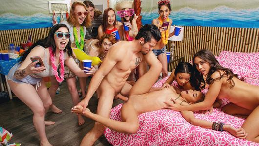 It's Spring Break at this off-the-hook dorm party! These college chicks in bikinis are down to party and can't wait to let loose after months of hitting the books. Well, these sexy girls are down to fuck and want to start hitting up some cock! Maya Bijou and her friends are eagerly awaiting for those studs they invited over to their dorm to finally get the party started! And once the guys finally show up, this party gets fucking wild! Arie Faye and Lilly Hall along with their best friend Maya find one of the guys they'd like to suck and fuck and push him down on their dorm bed to start taking turns sucking his big cock dry! The rest of the party take pictures of the raunchy party going down on the bed as they watch Maya's tight pussy get absolutely pounded by Bambino! But soon, Arie and Lilly want a turn riding some dick! Looks like Bambino came to the right Spring Break party, because this lucky fucker got enough pussy to last him for at least a week! Don't miss out on this smoking hot college party featuring three of the hottest college sluts you'll ever see letting loose on Spring Break!