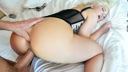 With a hotel room all to themselves, blonde hottie Whitney Grace puts on lingerie for a romantic weekend of fucking her boyfriend's big dick! With her perfect tits out to play, Whitney's ass gets filled and stretched out until her man pulls out to unload all over her face!