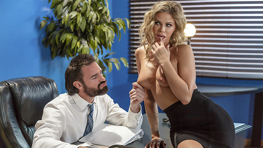Jessa Rhodes' new internship is going well, but when she hops up on the copier to have a chat with her coworkers, she doesn't realize it's scanning her pussy under her short skirt! Her boss Charles calls her into his office to ask the hardbodied blonde to explain herself, since it's clear she's got some extremely valuable assets he'd like to see more of! Charles has his sexy intern get naked so he can give her big tits and hot body a full appraisal, then he clears his schedule and Jessa clears his desk for a one-on-one meeting where she really shows her boss what she has to offer, from deepthroating and titty-fucking to a hard cowgirl ride!