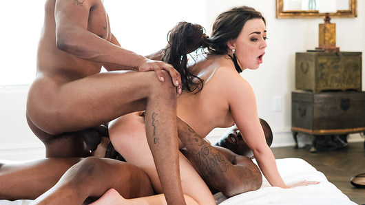 A kinky couple who are into playing erotic games, decide to step things up a notch. They invite another guy over for a delicious three-way that ends up with two big, black cocks in Whitney Wright at the same time. This is a voracious, energy packed double penetration.