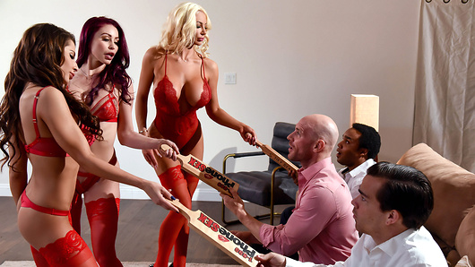 To celebrate Madison Ivy's first week at the office, the 1-800-Phone-Sex crew (Monique Alexander and Nicolette Shea) wants to have some fun. When Johnny calls in from his bachelor party, the frisky trio can't pass up the opportunity. It's time to make Johnny's last night of freedom one to remember... with a hot and steamy house call!
