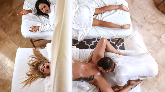 Karma Rx has been praising the benefits of Jessy's massage skills. So much so that she finally convinces her friend, Tia Cyrus to come along. What Tia doesn't realize is that Jessy specializes in a full body massage. Karma loves getting rubbed down, but it's the massive orgasms she's really interested in. It doesn't take long for Tia to realize what exactly's she been missing. The two decide to turn this massage session into their own private fuckfest.