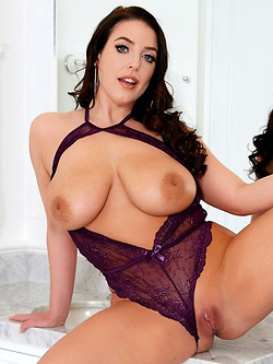 Beautiful and Busty Angela White has some fun at her vanity