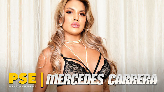 You've had your sights set on her awhile, and now she's here for you: Mercedes Carrera is your Porn Star Experience. Stockinged, blonde locks flowing and horny as hell, the Latina diva is going to step all over you with her high heels, just the way you want. Make note of the pearl necklace fallen between her big tits; you'll have the opportunity to give her another. But first she wants to tease you before she pleases you. Recaching into your pants for that snake of a big black dick you've been hiding, Mercedes knows just how to wet it. Her flicking tongue dances all over your massive cock until she swallows you whole, deepthroating you as far as she can. When she's good and ready you'll find her smooth, fine ass in your sights, prepared to sit right on your dick. With stockings, heels and garters remaining elegantly intact, Mercedes pleasures herself with your dick in the dirtiest fashion. (Video duration: 41 min)