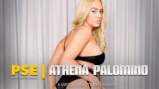 When Athena Palomino tells you to give her your cum, you had better listen! It's all part of your experience with a pornstar today - a blonde, busty pornstar who's ready for cock. Which is good, because your cock is ready for pussy - pornstar pussy! Enter Athena in sexy lingerie, her big tits busting out of her bra. A few words exchanged and she's ready to kneel down and give you a pornstar blowjob. Take a minute to prepare yourself, because Athena's caressing tongue will do such wonders to your cock and balls that they'll take on a mind of their own and, perhaps, want to explode in celebration in her mouth. But just wait. Hold on to that thought, because Athena's pornstar pussy is just as exquisite, if not more. She'll grab a hold of your dick, wag her big fat ass in your face, and then sit right on top of your meat, riding it up and down in ecstatic fashion. She'll then squeeze her beautiful big tits together and ask you to slide your big dick right in between them, fucking them as she hypnotizes you with her stare. Don't worry, she'll let you know when it's time for you to cum.This is a pornstar, and this is your experience.  (Video duration: 42 min)