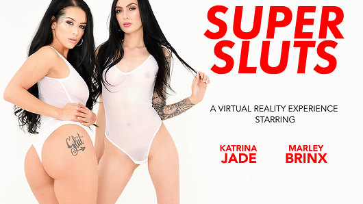 Got low-hangers looking for some love? Never fear, the Super Sluts are here! Katrina Jade and Marley Brinx arrive wrapped tight and white in Virtual Reality for you, but don't let the celestial appearance of the angelic beauties fool you; its contrast to their sexual appetite is stark. Be still your cock, for the  these sex-crazed starlets will make your balls flutter with a mere the slip of a tongue: they're definitely in charge. Simply, with the turn of a cheek, Katrina Jade shows you she knows just what she's doing and what she wants. Curvaceous and all-naturale, she unleashes her big ass and big natural tits upon you while the equally-horny Marley goes begins on your dick. Overwhelming? Perhaps. But it's just the beginning of this VR threesome. These tattooed, snow-skinned beauties will tease and please you without limits, sucking on one another's toes and eating their pussies as your big dick gets the preferential treatment. Save your jizz until the end for these Super Sluts, because they're saving the day. (Video duration: 42 min)