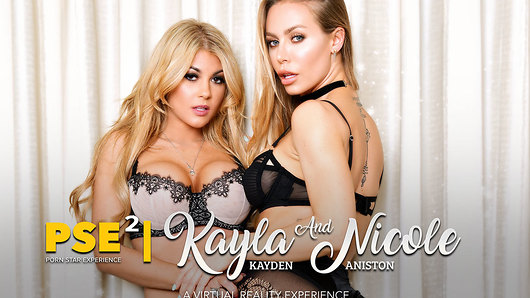 Two heads are better than one, and two pornstars are better than none! And the head they give is doubly bubbly and oh-so glorious! It's Nicole Aniston, Kayla Kayden and - you guessed it - you today, all in the same room, all naked, all happily fucking one another! Two blonde, big-tits pornstars all to yourself. Can you say