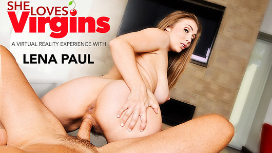 It's OK, Lena Paul knows - she knows you're a virgin. And she likes it. She's ecstatic that you invited her over to show you the ropes of the one thing that's been missing from your life: pussy. But don't expect this porn star with massive natural tits and an unquenchable thirst for cock to go easy on you; she tells you she won't. In fact, she says she may even ruin you for other girls. But take that as a positive, because you absolutely want this luscious, lascivious lady to ruin you, trust us. Getting a porn star blowjob and those fat tits bouncing in your face while getting your cock ridden for the first time - not bad at all for your inaugural in-out session! Make the most of it, because Lena certainly will...just don't cum too soon! (Video duration: 43 min)