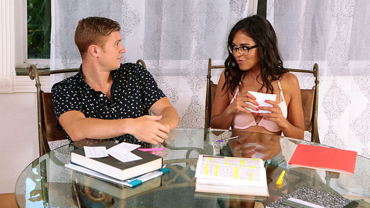 Summer classes are the worst, tanned cutie Vienna Black has been studying chemistry non-stop and all her friends are at the beach! So it's a good thing her tutor Oliver Flynn is actually super cute, because all this homework is making her horny for a big dick! After tricking him into playing a little stripping game she's got every inch of him in her pretty, little mouth. But this slutty nerd isn't done yet, she's bending over and letting him stretch her out as he rams his huge cock as deep inside her hole as she can handle it! She might not know much about chemistry, but these two definitely have a lot of it - especially the way she takes his full creamy load all over her face! She's definitely passing her test. (Video duration: 45 min)