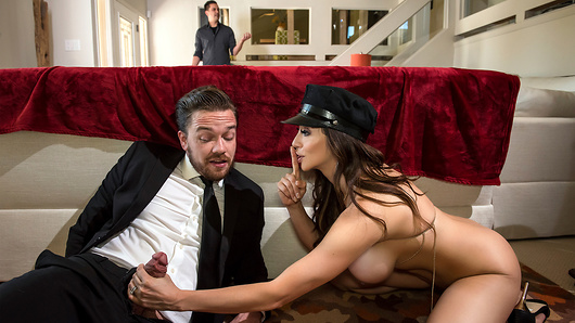 Wealthy socialite Ariella Ferrera just got stood up by her own husband for the hundredth time, and the hot limo driver is looking good today! Hopping in the backseat, this busty MILF is out of her panties and rubbing her pussy wet to an audience of one - Kyle Mason. With her husband nowhere to be fucked, Ariella takes this stud back to their home and goes for a ride on that big dick he's been hiding! Sucking on those big fake tits as he pounds his boss' wife, Kyle knows he's got to last as long as she tells him to. But as his load starts shooting out, Ariella drops to her knees so that every drop glazes her huge boobs like her husband never could! (Video duration: 29 min)