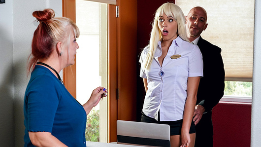 Athena Palomino is committed to making a lasting impression on her first day working the front desk, and her boss, Johnny Sins, is making sure she can handle everything he throws at her - including his big dick! After putting her a taste of her blowjob expertise right in front of customers in the hotel lobby, Johnny takes his busty new hire up to room 69 and tears off her panties to better tongue fuck her tight pussy! Spreading her huge juicy ass wide, Johnny stretches Athena's pussy out as he pounds her as hard and fast as he can, until he glazes her perfect natural tits. Housekeeping had better pass by before the next guest checks in! (Video duration: 33 min)