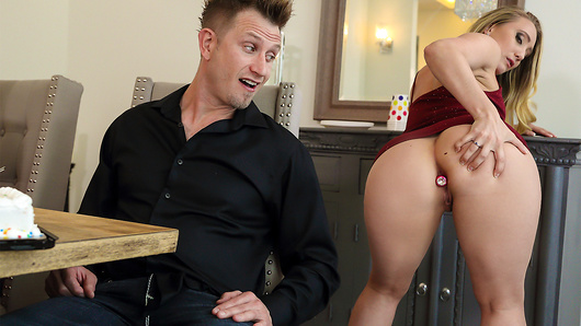 Bill's girlfriend is throwing him a surprise birthday dinner, and decides to invite their friend AJ Applegate and her boyfriend over. However, AJ's got a tricky plan to give Bill a surprise of her own. She's been bored of her boyfriend for a while now, so she begins teasing Bill under the table and gives him a secret view of her buttplug. Finally, as their partners are busy chatting, she tells Bill to come upstairs for an extra surprise... (Video duration: 36 min)