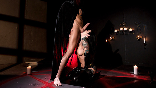 Joanna Angel worships at the temple of dick. The badass babe is willing to do all kinds of things to get her fill, including trickling hot wax all over her body before getting tied up by Xander, a hooded figure who knows exactly what she's been praying for - a big, thick dick in her delicious, juicy ass. (Video duration: 36 min)