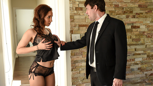 Isis Love's rich husband spares no expense when it comes to her safety. When hubby goes out of town, he hires buff bodyguard Preston Parker to ensure nobody gets into their house - and make sure his naughty wife can't leave, either. The horny housewife decides to have some fun of her own - she's going to seduce her bodyguard! Preston struggles to stay professional, but will he be able to protect the his boss's wife when he's served with her pussy? (Video duration: 34 min)