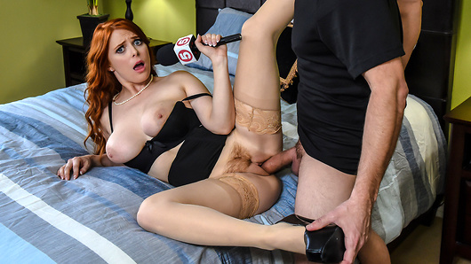 Reporting live from the site of a recent break-in, Penny Pax convinces the homeowner to let her have a look inside. As she explores the scene, Penny catches the burglar red-handed. Always after the latest lead, she interviews the thief in depth. Penny just needs to know whether outlaw cum tastes the same! (Video duration: 30 min)