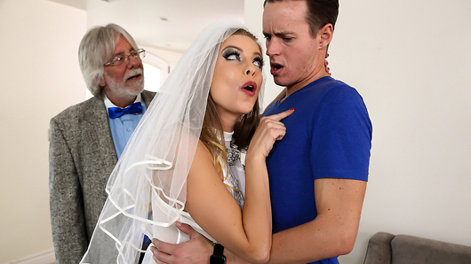 It's Britney Amber's wedding day and everything is working out perfectly. After sealing the deal by marrying an old guy for his money, Britney is pleasantly surprised to find that her new step-son is able to offer a few things as well-his hot bod and rock hard cock. Britney plans to ride that good dick all the way to the bank with what can only be called the package deal of her dreams. And after fucking and sucking her new step-son until he cums all over her pretty little face, Britney returns to her marital bed to catch a few blissful winks. (Video duration: 44 min)
