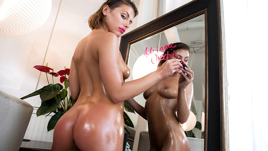 When it comes to sex, aggressive Adriana Chechik isn't afraid to get a little messy - she's not satisfied until she's drenched with sweat, spit and spunk. When makeup starts streaming down her face, she knows she's in for a good fuck! (Video duration: 34 min)