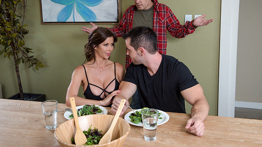 When Alexis Fawx's ungrateful son Daniel stops by for an unannounced visit, he's shocked to find her eating dinner with his best friend Duncan Saint. Alexis pampers Duncan feeding him as she explains to Daniel that she let Duncan move in. Daniel sits down at the table dumbfounded. He goes to grab some food and Alexis smacks him with the fork, saying that there's only enough for Duncan. Daniel looks at the pair in shock while Duncan suggests that their arrangement is no big deal. Alexis accidentally spills some water on Duncan's lap, and starts to pat him dry. As Alexis dries Duncan off, she can't help but suck his cock under the table. Daniel catches them in the act and storms off leaving Alexis to have some sexy fun with her new favorite 30 year old. (Video duration: 30 min)