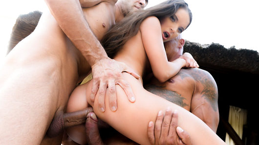 Young Anita Bellini takes Zack and Kai Taylor's cocks! What a nice DP for the cute brunette! She really knows how to take care of two throbbing dicks!