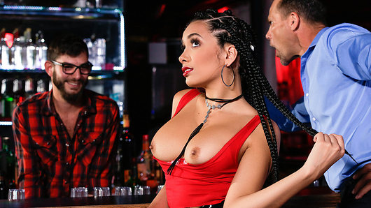 The last thing ebony bartender Aaliyah Hadid wants to do on her day off is go to a bar, but at least the watering hole her boyfriend dragged her to has a hottie slinging suds! Aaliyah wastes no time trading bar-tending lingo and flirtatious banter with Logan Long, even flashing him her big tits right under her boyfriend's nose. After Logan conveniently spills his shaker all over her man, Aaliyah hops behind the bar to suck on Logan's hose! She rides Logan's hard cock until she's worked up a huge thirst, and he serves her up a big load of hot cum all over her round booty!