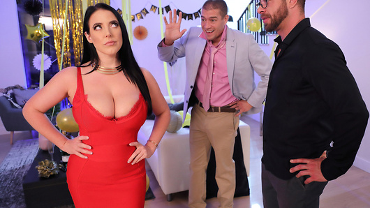 It's New Year's Eve and it's time to party, but Angela White is concerned that her husband will fall asleep before the countdown, like he does every year. After promising to stay awake, he disappoints her once again, and passes out, leaving her alone with his obnoxious friend from work, Xander. Angela wants her new years kiss and she'll take it anyway she can get it - even if it means riding Xander's hard cock with her juicy pussy. (Video duration: 40 min)