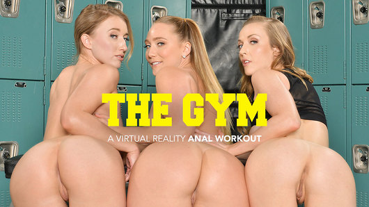 AJ Applegate, Karla Kush, and Riley Reyes are having a little anal fun in the gym's locker room, but they decide they prefer a real dick.  There's only one dick left at the gym, so it's this lucky studs day as he gets to fuck 3 hotties in the butt, (Video duration: 53 min)
