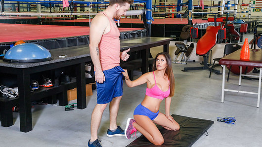 Kyle Mason has discovered that the best place for scoping MILFs is at the gym on the weekend, but today it's looking pretty deserted. Luckily, Latina cougar Alexa Vega is here and she's muy caliente! Alexa seems to have been stood up by her usual trainer, so Kyle offers to help work her out, starting her off with some stretches and jumping rope so he can watch her big tits bounce! Soon Kyle has Alexa working her abs as she works his cock with blowjob situps, before he gets her on the treadmill and fucks her pussy doggystyle. Alexa tones her thighs with a hard cowgirl ride and cools down with Kyle's cum all over her big tits!