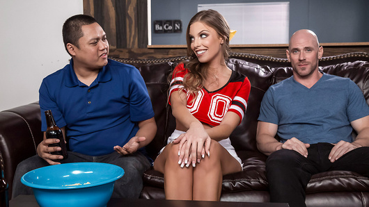 Britney Amber is doing her best to please her husband and his friend, Johnny, as they watch the big game. After she is treated rudely by her husband, Britney eyes up Johnny's big cock and decides to get even - with a sloppy wet blowjob! Britney takes all of Johnny's cock deep inside her tight pussy while her husband watches the game, oblivious. This time - Britney is going to score too! (Video duration: 32 min)