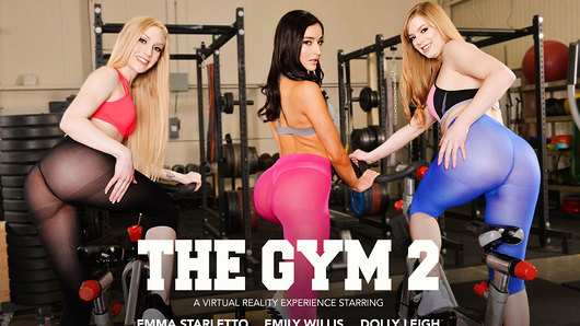 Since the gym is empty and Dolly Leigh, Emily Willis, and Emma Starletto have it all to themselves. Emily Willis convinces her friend's to workout nude! She explains she does it all the time and that her trainer recommends it. All is fun and private until her trainer pops in unexpectedly.  Emily decides to get her trainer to join in on the fun leading to an epic foursome.  (Video duration: 58 min)